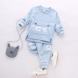 Boy Chinese Suit Australia - Spring Autumn Boys Clothing Kids Attire Clothes Toddler Suit Set Children's Cotton Full Sleeve T Shirt Pants 2 Pcs Tracksuits