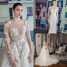 Luxury Lace trumpet mermaid wedding dress online shopping - Vintage Lace Backless Mermaid Wedding Dress With Detachable Train Luxury Appliqued Sheath Backless Deep V Neck Plus Size Bridal Gown