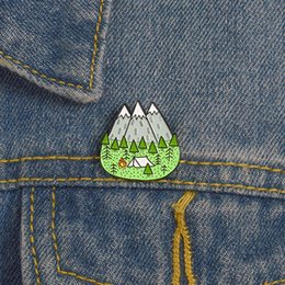 Man tents online shopping - Camping Peak Pins Tent Tree Snow Mountain Forest Brooches Badges Lapel pins Brooches for men women children