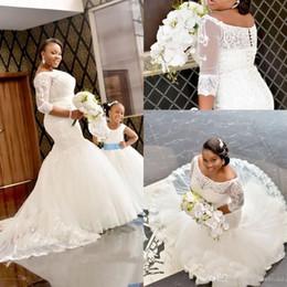 Organza Mermaid Wedding Dress Feathers Australia - Plus Size Mermaid Wedding Dresses 2019 Elegant Bateau Neckline Long Sleeve Lace Wedding Dress Bridal Gowns Bride Formal Gown