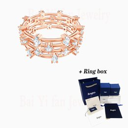 rose gold cluster engagement rings Australia - 2020 Fashion SWA New PENELOPE CRUZ MOONSUN CLUSTER Ring Rose Gold Magic Charm Night Sky Stars Crystal Female Romantic Gift