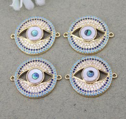 $enCountryForm.capitalKeyWord NZ - 5pcs Metal Copper Micro Pave CZ Evil Eye connector Beads,CZ Round beads For Jewelry Making