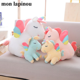 $enCountryForm.capitalKeyWord Australia - 25cm 40cm 55cm Lovely Unicorn Plush Toy Pink Fly Horse With Rainbow Wings Baby Kids Appease Doll Birthday Gift For Little Girl J190717