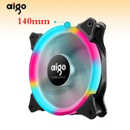 aluminum ring case 2019 - Aigo aurora fan 140mm 14CM LED ring-shaped of solar eclipse 12V 3pin+4pin Desktop PC Computer Cooling Cooler Silent Case