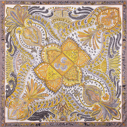 silk r NZ - Luxury-2018 High quality 100% silk scarf Brand Famous Designer print Pattern Square scarf Womens Scarves for Gift size 130x130cm R-6696