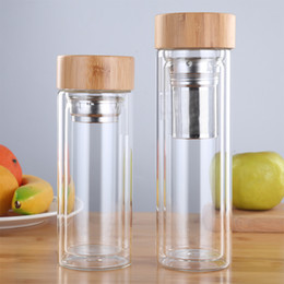 Eu Glass Australia - 350ml 450ml Glass Water Bottles For Dink Tea With Infuser Bamboo Lid Double Wall Bottle For Water Brief Portable Outdoor C19041601