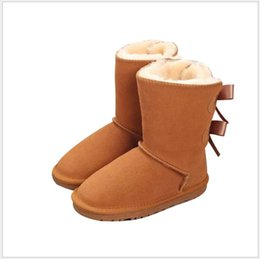 $enCountryForm.capitalKeyWord Australia - 2019 New Hot Sale Kids Shoes Genuine Leather Snow Boots For Girl Boots With Bows Children Footwear Girls Snow Boots