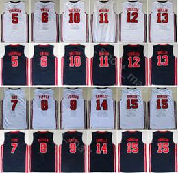 China Dream Team One 1992 Basketball Jerseys 7 Larry Bird 14 Charles Barkley 6 Patrick Ewing 8 Scottie Pippen Clyde Drexler Blue White supplier jersey dream team suppliers