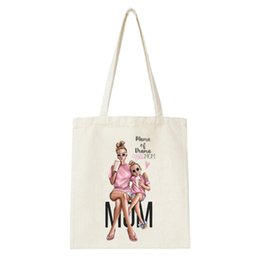Wholesale Mother s Day Gift Mother And Daughter Print Shopping Bag Women Large Capacity Handbag Tumblr Clothes Package Bag Girl Tote bag