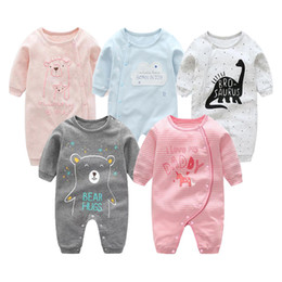 Wholesale Baby Rompers Newborn Jumpsuits Buttons Cotton Striped Milk Dinosaur Bear Fox Cartoon Printed Long Sleeve Infant Boys Girls Designer Clothes