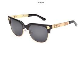 Clear Resin Coating Australia - Summer style 2019Versace medusa sunglasses half frame women men brand designer uv protection sun glasses clear lens and coating lens sunwear
