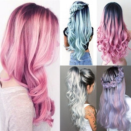 $enCountryForm.capitalKeyWord Australia - Fashion 5 Style Black Ombre Long Wave Wigs Centre Parting Pink Loose Curly Wig Full Wig Cosplay Halloween Costume