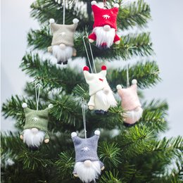 hanging doll decoration NZ - Free DHL 6 Styles Cute Faceless Doll Christmas Tree Pendant Decoration Wool 2020 New Year Hanging Ornament Xmas Party Gift Child Favor M596F
