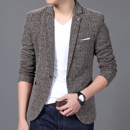 Spring Slim Blazers Australia - Mens Slim Fit Blazer Velvet Male Suit Jacket 2019 Spring And Autumn Khaki Red Grey Notch Lapel Casual Coat Blaser Drop Shipping