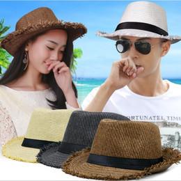 51a7890c05072 2019 New Cheap Men Women Straw Hats Cap Soft Fedora Panama Belt Hats  Outdoor Stingy Brim Caps Spring Summer Beach Panama Hat