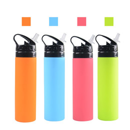 water tumblers wholesale NZ - 600ml Folding Sports Water Bottles Silicone Outdoor Straw Cup Mountaineering Portable Tumblers Of Travel Camping Equipment 14 8yf E1