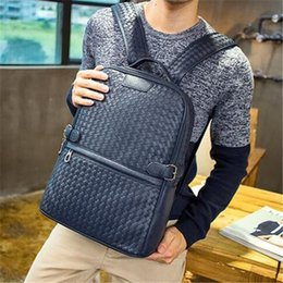 $enCountryForm.capitalKeyWord Australia - Factory wholesale brand men bag hand woven leather backpack trend high quality leather man backpack college wind casual woven brand Backpack