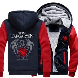Thickness Coatings Australia - 2018 New Thickness Game of Thrones House Targaryen Jacket Sweatshirts Thicken Hoodie Zipper Coat USA size -F