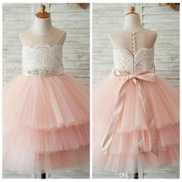 $enCountryForm.capitalKeyWord Australia - 2019 Sheer Ball Gown Tulle Flower Girls Dresses Tiered Lace Appliques Formal Kids Birthday Party Gowns Crystal Beaded Ribbon Communion Gowns