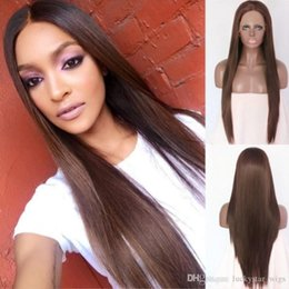 $enCountryForm.capitalKeyWord UK - Free Shipping Glueless 26inch Brown Long Straight Hair High Temperature Synthetic Lace Front Wig Middle Part Glueless Full Wigs For Women