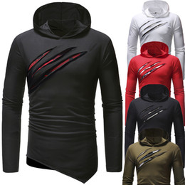Long Shirt Men Fashion Australia - long Sleeve Hip-Hop Beggar T Shirt Hoodie Slim Men T-Shirt Tops Fashion Mens Tee Shirt T Shirts