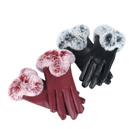 leather gloves for men Australia - Winter Gloves Anti Slip Windproof Thermal Warm Touchscreen Glove Breathable Women Leather Fur Wrist For Driving Ski Cycling Warm
