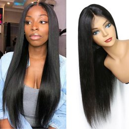 full human lace wigs silky 2019 - Straight Lace Front Human Hair Wigs Full End Brazilian Hair 13*4 Lace Front Wigs Bleached Knots cheap full human lace wi