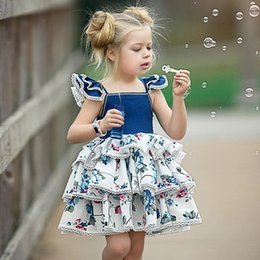 Suspender Vest Skirt Australia - INS new girls comfortable print dress baby vest skirt small flying sleeves lace blue flowers court cake girl dress