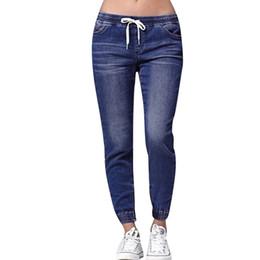$enCountryForm.capitalKeyWord NZ - New women's pant fashion trend high-end hot sale Women Autumn Elastic Plus Loose Denim Casual Drawstring Plus Cropped Jeans