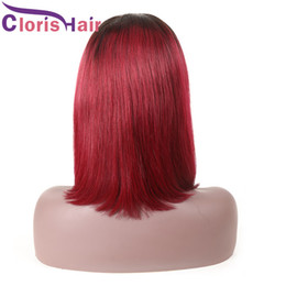 Discount red lace front wig human hair - 1B Red Ombre Bob Wigs Short Human Pixie Lace Front Hair Wig For Black Women Colored Straight Brazilian Full Lace Wig Pre
