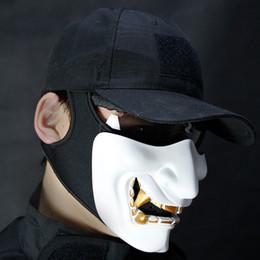 Discount evil masks - Adult Grimace Cosplay Tactical Cycling Half Mask Half Face Tactical Mask Cool Masks Evil Halloween Party Decoration