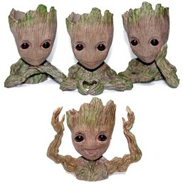 Discount baby pots - Guardians of The Galaxy Flowerpot Tree Man Baby Groot Action Figure Pen Container Doll Cute Model Toys The Avenger Pen F
