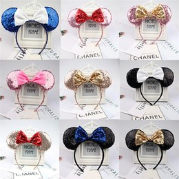 hair cards NZ - European and AmericanFull sequined Mouse Headband Sequined Bow Hair Accessories Children Ears Hair Card High Quality Wholesale CFJ710
