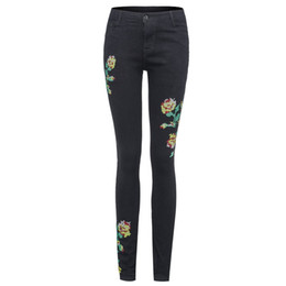 6b7c969c895c Pantalones vaqueros bordados ajustados de cintura alta de las mujeres  Pantalones de mezclilla con estampado floral Pantalones Mujer Lápiz  Pantalón Tallas ...
