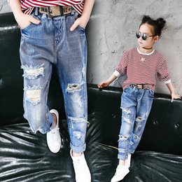 $enCountryForm.capitalKeyWord NZ - Kids Jeans Wear Skinny Jeans Baby Girl Winter Autumn Long Broken Pant Button Fly Fashion Denim trouser Children Jeans For Girls