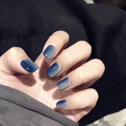 blue fake nails UK - 24 pcs Gradient Color Finished Fake Nails Square Short Full Cover False Nails Blue and Gray Artificial Nail With Glue Stickers