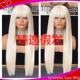 blonde wig full bangs Australia - MHAZEL 26in long straight white blonde #60 full fringe synthetic lace front wig with bangs for woman