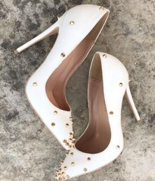 $enCountryForm.capitalKeyWord Australia - Free shipping fee new style Casual Designer white matte leather studded spikes point toe high heels shoes pumps bride wedding party shoes
