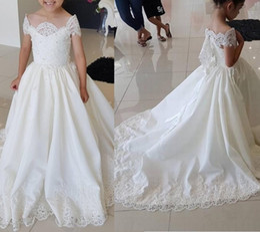 Wedding Tutus Australia - White Ivory Lace Cap Sleeve Kids TUTU Flower Girl Dresses First Communion Party Princess Gown Bridesmaid Wedding Formal Occasion Dress 104