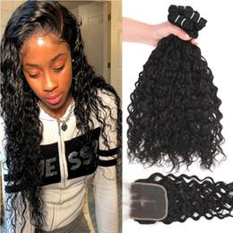 hair extensions bundles 2019 - 9A Malaysian Virgin Hair 4 Bundles With Lace Closure Water Deep Loose Wave Human Hair Bundles With 4x4 Lace Closure Hair