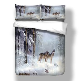 wolf duvet covers UK - 3D Quilt Printed Cover Sets Bedding Bed Comforter Wolf Duvet Set Cover Single Sheets King Bedding Double Queen Size Pohxk