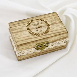 Brown ring Box online shopping - Wedding Decorations Woody Storage Boxes Together With Me Garland Bardian Ring Square Fashion Simple Practical Jewelry Box mtD1