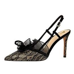 stylish lady shoes heel 2019 - 9cm 5 Colors Sexy Black Lady Lace Sandals Pumps Stylish Women Sandals Pointed Toe Champagne Stiletto Heel Party shoes 20