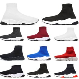 Wholesale Designer Shoes Speed Trainer Brand bule black white red Flat Fashion mens womens Socks Sneakers fashion Trainers Casua shoes size