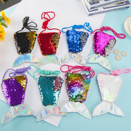 wholesale designer purse bag Australia - New Mini Kids Purses Girls Love Mermaid Sequins Zipper Coin Wallet With Lanyard Beautiful Fish Shape Tail Sling Money Card Purse Pouch Bag