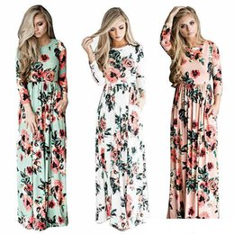 long sleeve maxi dresses Australia - 2017 Summer Boho Beach Dress Fashion Floral Printed Women Long Dress Three Quarter sleeve Loose Maxi Dress Vestidos