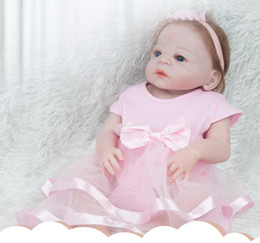 56c664694 22inches Full vinyl Silicone Reborn Baby Doll Lifelike Newborn Baby with  Dress Kids Best Playmate Children's Birthday Xmas Gift