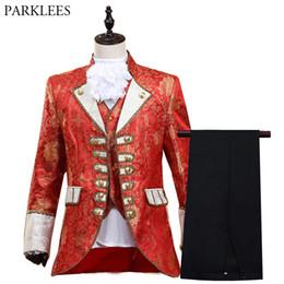 631d818a79 Traje de cinco piezas de estilo rojo para hombre Set 2019 New Europe Gothic  Edad Media Traje Homme Drama Prom Singer Etapa Traje para hombres