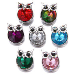 noosa owl UK - 18MM Snaps Button Noosa Bracelet Jewelry Bangles Snap Button 18mm Buttons Full Diamond Animal Owl Cuff Link Chain Tennis Charm Bracelet