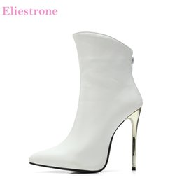 $enCountryForm.capitalKeyWord Australia - Brand New Sexy Black White Women Wedding Boots Vogue Super Stiletto Heels Lady Evening Shoes S271 Plus Big Size 11 43 48